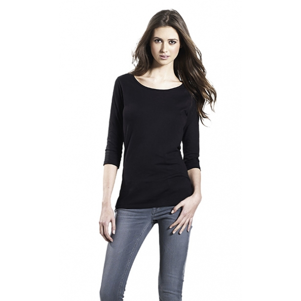 WOMENS 3/4 SLEEVE STRETCH T-SHIRT