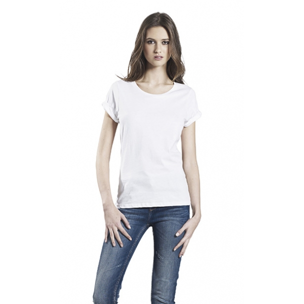 WOMENS ROLLED SLEEVE T-SHIRT