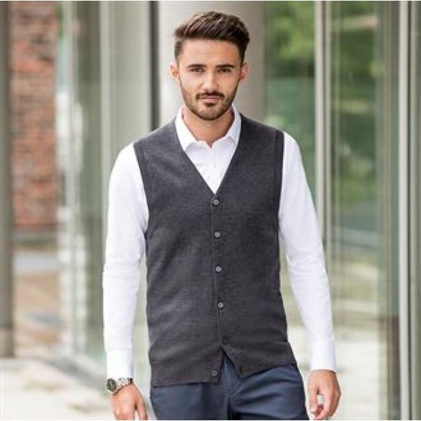 V-neck sleeveless knitted cardigan