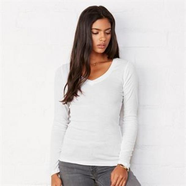 Sheer mini rib long sleeve v-neck t-shirt