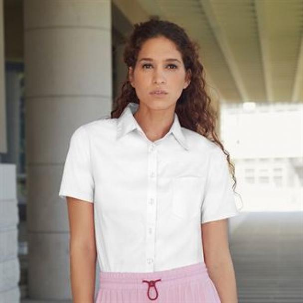 Lady-fit poplin short sleeve shirt