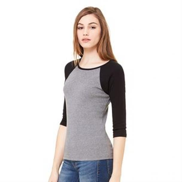 Baby rib ¾ sleeve contrast raglan t-shirt