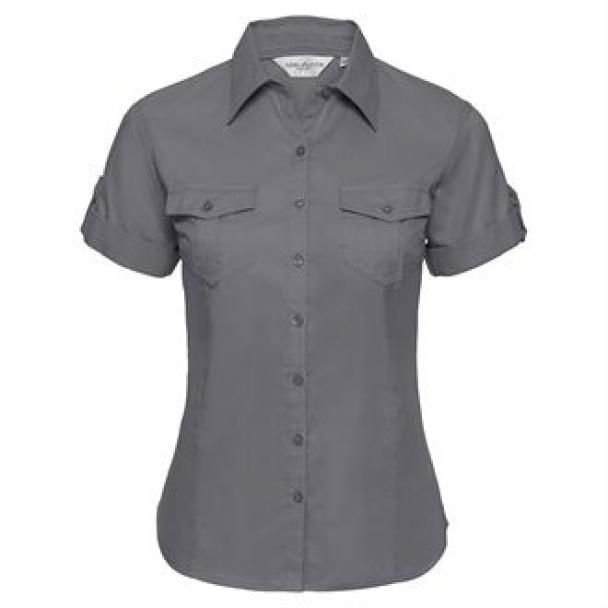 Women's roll-sleeve short sleeve shirt