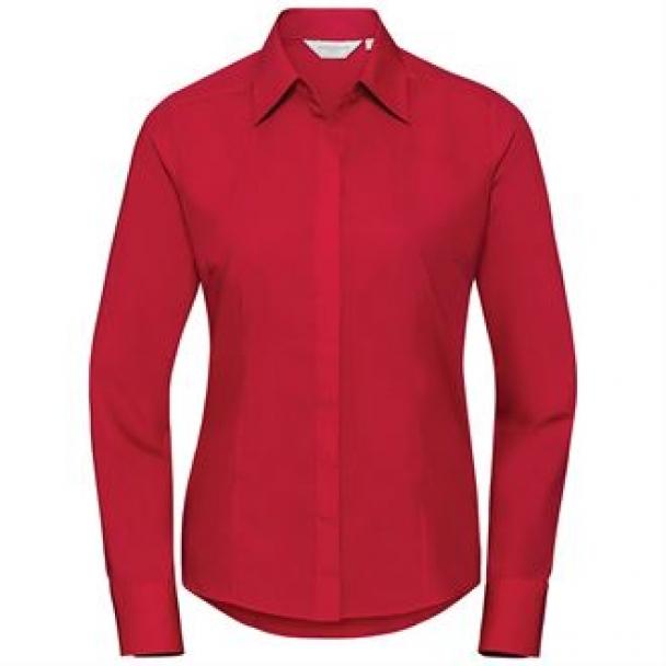 Women's long sleeve polycotton easycare fitted poplin shirt