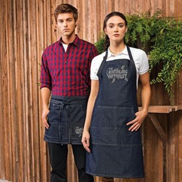 Jeans stitch bib apron