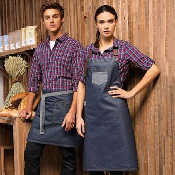 Division waxed-look denim waist apron