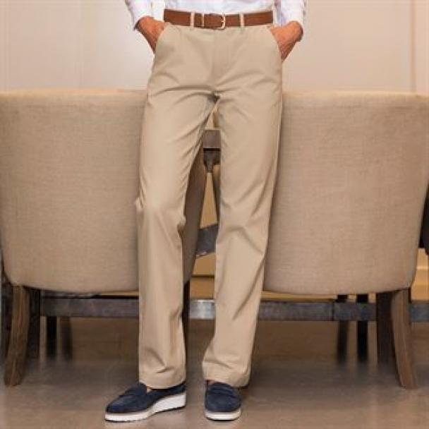 Women's Teflon®-coated flat front trousers