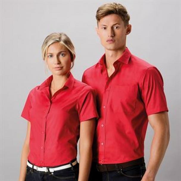 Women's poplin shirt short sleeve