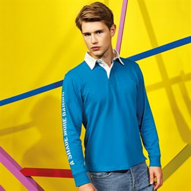 Men's classic fit long sleeve vintage rugby shirt